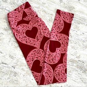 LuLaRoe NWOT HEARTS Valentine OS Leggings